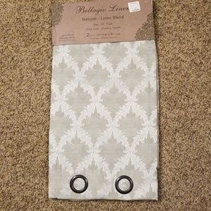 Set of two linen silver curtain panels